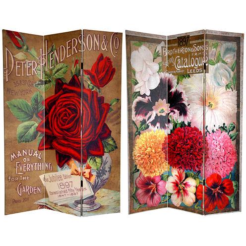 Oriental Furniture 6' Flower Seeds Room Divider