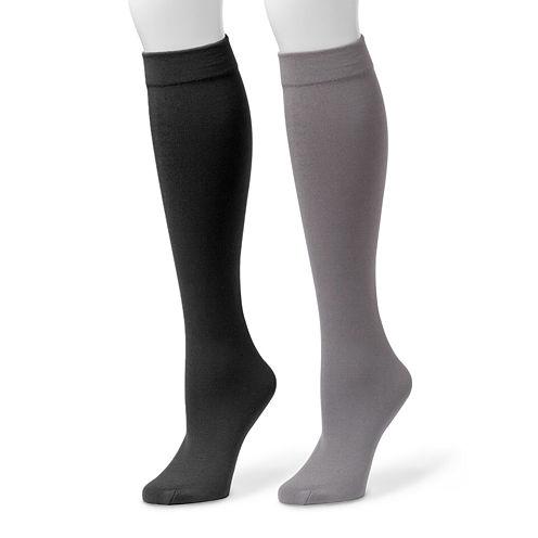 MUK LUKS® 2-pk. Fleece-Lined Knee High Socks