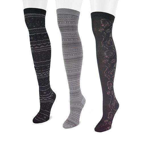 MUK LUKS® 3-pk. Microfiber Over The Knee Socks