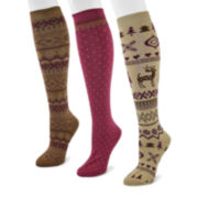 MUK LUKS® 3-pk. Microfiber Knee-High Socks