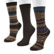 MUK LUKS® 3-pk. Microfiber Crew Socks