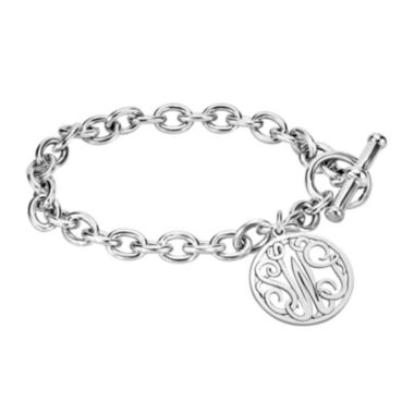 jcpenney.com | Personalized Sterling Silver 20mm Monogram Charm Bracelet