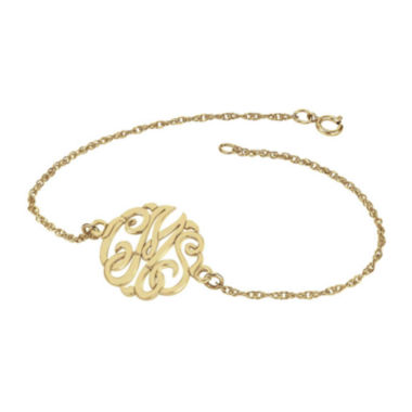 jcpenney.com | Personalized 14K Gold Over Sterling Silver 20mm Monogram Bracelet