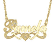 Personalized Diamond-Accent 14K Gold Over Sterling Silver Nameplate Necklace