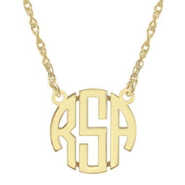 jcpenney.com | Personalized 14K Gold Over Sterling Silver 15mm Block Monogram Necklace