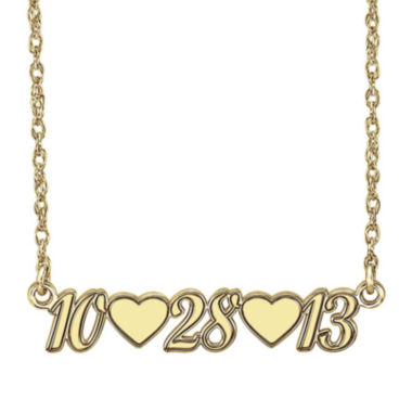 jcpenney.com | Personalized 14K Gold Over Sterling Silver Date and Heart Necklace