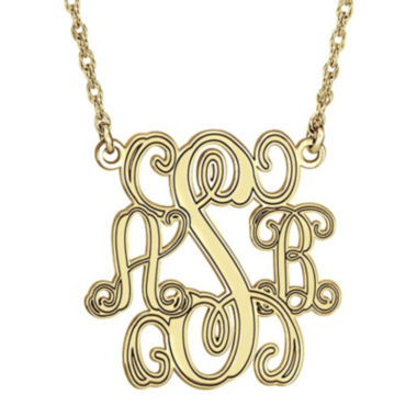 jcpenney.com | Personalized 14K Gold Over Sterling Silver 40mm Monogram Necklace
