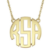 Personalized 14K Gold Over Sterling Silver Block Monogram Necklace