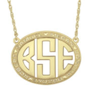 14K Gold Over Sterling Silver Family Name and Monogram Necklace
