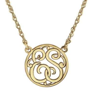 jcpenney.com | Personalized 15mm Circle Cutout Monogram Necklace