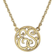 14K Gold Over Sterling Silver Round Cutout Monogram Necklace