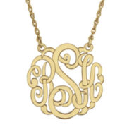 Personalized 14K Gold Over Sterling Silver 25mm Monogram Necklace