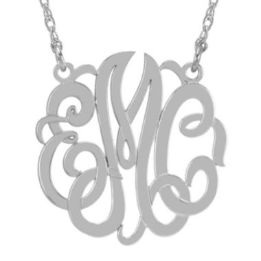 jcpenney.com | Personalized Sterling Silver 40mm Monogram Necklace