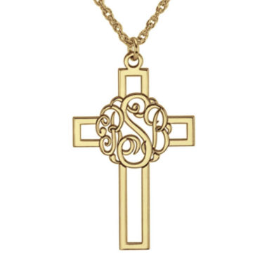 jcpenney.com | Personalized 14K Gold Over Silver 20mm Monogram Cross Pendant Necklace