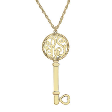 jcpenney.com | Personalized 10K Yellow Gold Monogram Key Pendant Necklace