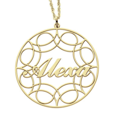 jcpenney.com | Personalized 14K Gold Over Silver Name Pendant with Design Necklace