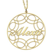 Personalized 14K Gold Over Silver Name Pendant with Design Necklace