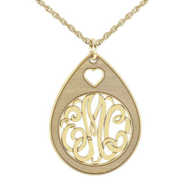 jcpenney.com | Personalized 10K Yellow Gold Monogram Oval Pendant Necklace with Heart Design