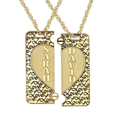 jcpenney.com | Personalized 14K Gold Over Silver Couple's Name Puzzle Heart Pendant Necklaces
