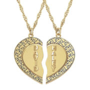 Personalized 14K Gold Over Silver Couple's Name Heart Pendant Necklaces