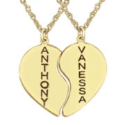 14K Yellow Gold-Plated Sterling Silver Couple's Name Heart Pendants Necklace