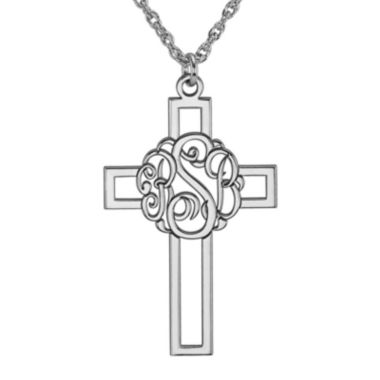 jcpenney.com | Personalized Sterling Silver Monogram Cross Pendant Necklace