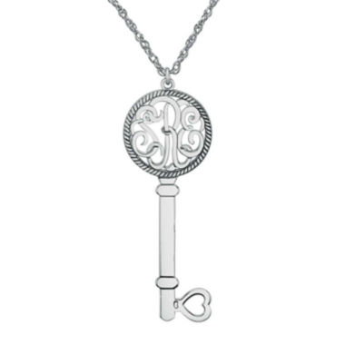 jcpenney.com | Personalized Sterling Silver Monogram Key Pendant Necklace