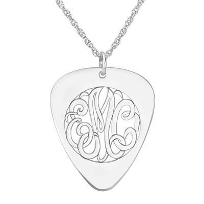 Sterling silver monogram guitar pick pendant personalized sterling silver monogram guitar pick pendant necklace aloadofball Choice Image