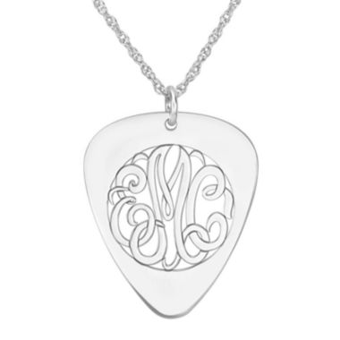 jcpenney.com | Personalized Sterling Silver Monogram Guitar Pick Pendant Necklace