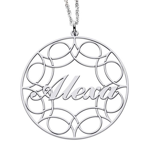 Personalized Sterling Silver Name Pendant Necklace