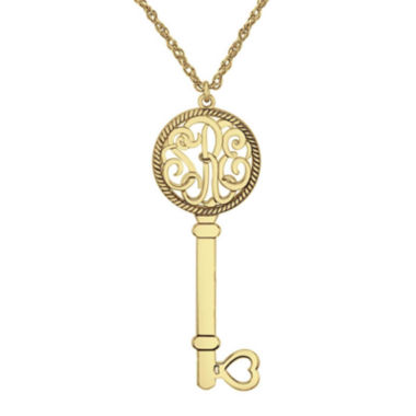 jcpenney.com | Personalized 14K Yellow Gold Over Silver 25mm Monogram Key Pendant Necklace