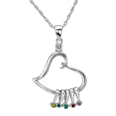 jcpenney.com | Personalized Sterling Silver Heart Cubic Zirconia Birthstone Pendant Necklace