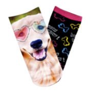 Sole Options 2-pk. Dog Print Low-Cut Socks - Girls