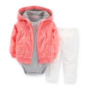 Carter's® 3-pc. Microfleece Kitty Cardigan and Pants Set – Girls newborn-24m