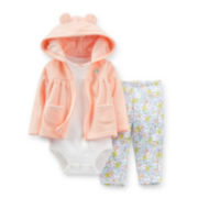 Carter's® 3-pc. Microfleece Floral Cardigan and Pants Set – Girls newborn-24m