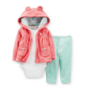 Carter's® 3-pc. Microfleece Bunny Cardigan and Pants Set – Girls newborn-24m