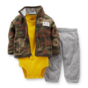 Carter's® 3-pc. Microfleece Camo Cardigan and Pants Set – Boys newborn-24m