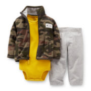 Carter's® 3-pc. Camo Cardigan, Bodysuit and Pants Set – Boys newborn-24m