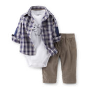 Carter's® 3-pc. Plaid Shirt, Bodysuit and Corduroy Pants Set – Boys newborn-24m