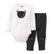 Carter's® 2-pc. Long-Sleeve Black Cat Halloween Bodysuit Set – Girls newborn-24m