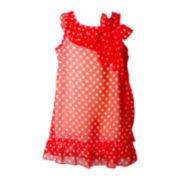Pinky Coral Chiffon Dot Dress - Girls 4-6x