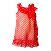Pinky Coral Chiffon Dot Dress - Girls 4-6x