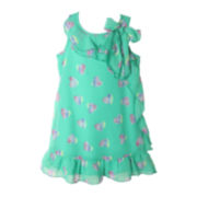 Pinky Jade Chiffon Print Dress - Girls 4-6x