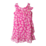 Pinky Pink Chiffon Dot Dress - Girls 4-6x