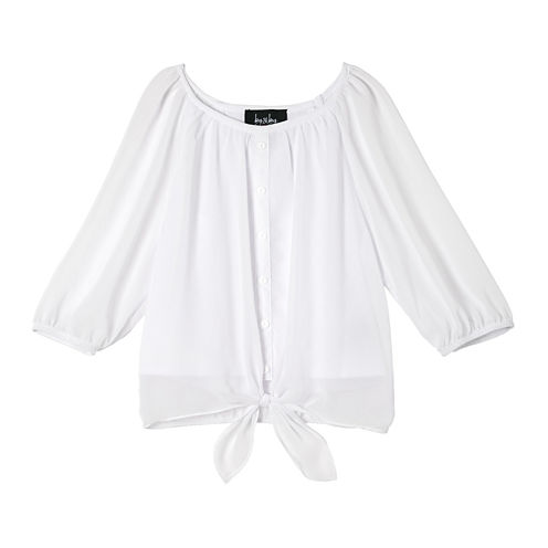 by&by Girl Chiffon Tie-Front Top - Girls 7-16