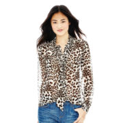 Joe Fresh™ Long-Sleeve Print Tie-Neck Blouse
