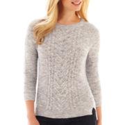 Liz Claiborne 3/4-Sleeve Cable Sweater - Petite