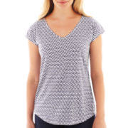 Liz Claiborne® Cap-Sleeve Print Tee - Petite