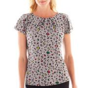 Liz Claiborne Short-Sleeve Pleat-Neck Top