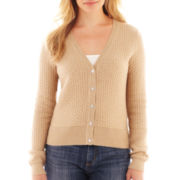 Liz Claiborne® Long-Sleeve Basketweave Cardigan Sweater - Tall